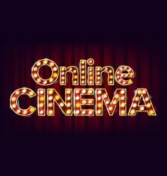 online cinema poster cinema lamp vector image vector image