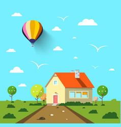 family house with road and hot air balloon on vector image vector image