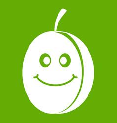 fresh smiling plum icon green vector image