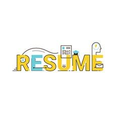 Resume word lettering design vector image