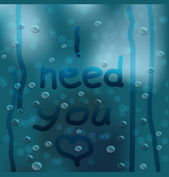 the inscription on the wet glass with heart vector image vector image