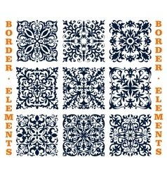 Tiles borders of floral damask ornament vector image vector image