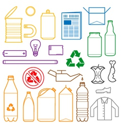 color separated waste outlines icons vector image vector image