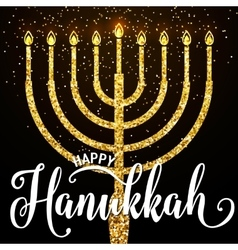 happy Hanukkah gold vector image