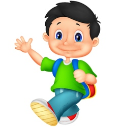 Happy school boy cartoon vector image vector image