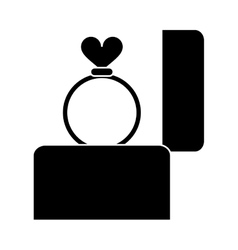 silhouette hand hold engagement box with ring vector image vector image