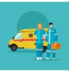 Ambulance car and emergency paramedic team vector image vector image