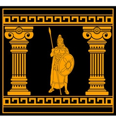fantasy warrior with with columns second variant vector image vector image
