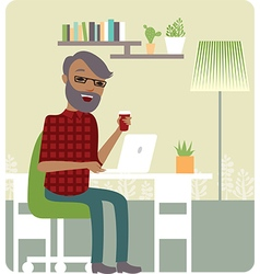 Freelancer working from home vector image vector image