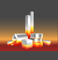 group different melt hot metal steel objects vector image