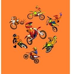 Motorcycle motocross set vector image