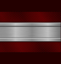 red perforated background with metal plate vector image vector image