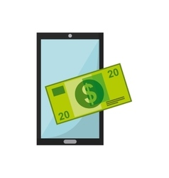 smartphone device with business icon vector image vector image