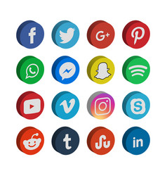 3d collection of social media icon template vector image