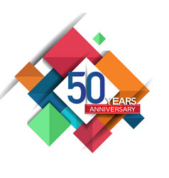 50 years anniversary design colorful square style vector