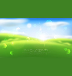 Abstract background with blur green grass sky vector