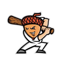 Acorn baseball mascot vector