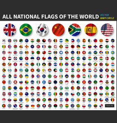 All national flags world waving circle vector