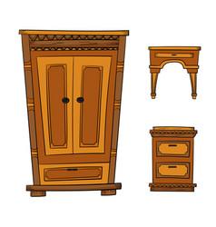 Antique furniture set - closet dresser vector