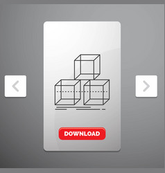 Arrange design stack 3d box line icon in carousal vector