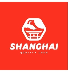 Asian sign Shanghai crane flies sky culture vector
