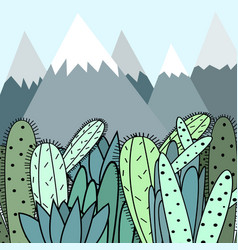 background with mountains and cactus vector image