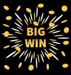 big win banner golden text flying coin rain vector image
