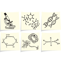 Biology and chemistry icons on yellow memo sticks vector