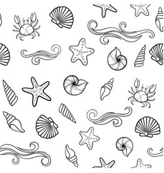 black and white seashell seamless pattern design vector image