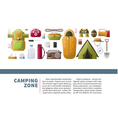 Camping zone promotional poster with hiking vector