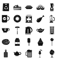 canteen icons set simple style vector image