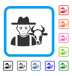 Cattle farmer framed positive icon vector