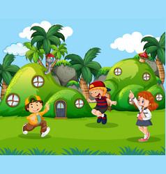Children playing in fantasy land vector