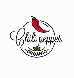 Chili pepper logo round linear logo chile vector