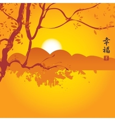 China landscape with mountains and tree branch vector