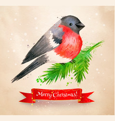 christmas vintage postcard with bullfinch bird vector image vector image