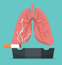 Cigarettes ceramic ashtray with lungs concept vector