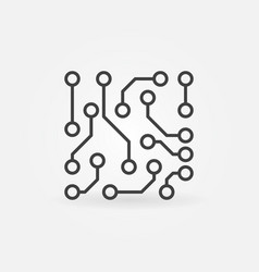 Circuit board icon in thin line style vector