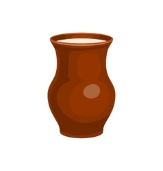 Clay jug full of milk icon cartoon style vector image