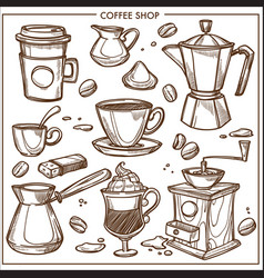 Coffee shop maker equipment tools sketch vector