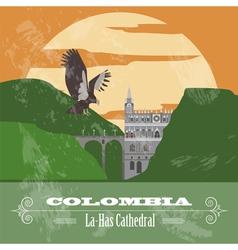 Colombia landmarks Retro styled image vector image