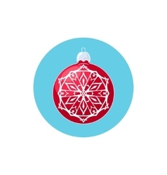 Colorful Icon Red Ball with Snowflake vector image