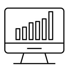 Computer chart thin line icon computer with graph vector