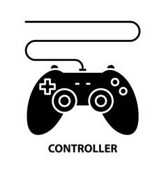 Controller icon black sign with editable vector