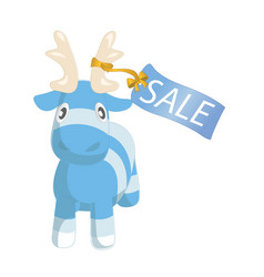 cute blue cartoon reindeer toy with sale label vector image
