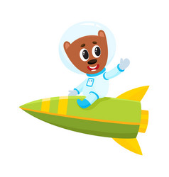 cute little teddy bear astronaut spaceman vector image