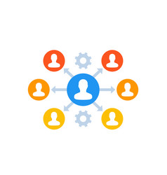 Delegation management icon on white vector