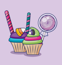 delicious sweet cupcakes with candies vector image