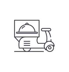 Delivery from restaurants line icon concept vector