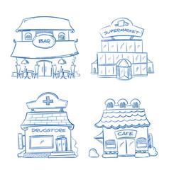 doodle building facade shop bar cafe mall vector image